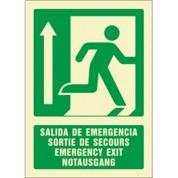 SYSSA,Señal Salida de emergencia arriba (cuatro idiomas)