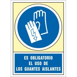 SYSSA,Señal Es obligatorio el uso de los guantes aislantes