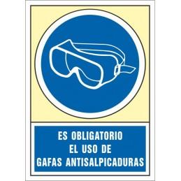 SYSSA,Señal Es obligatorio el uso de gafas antisalpicadura