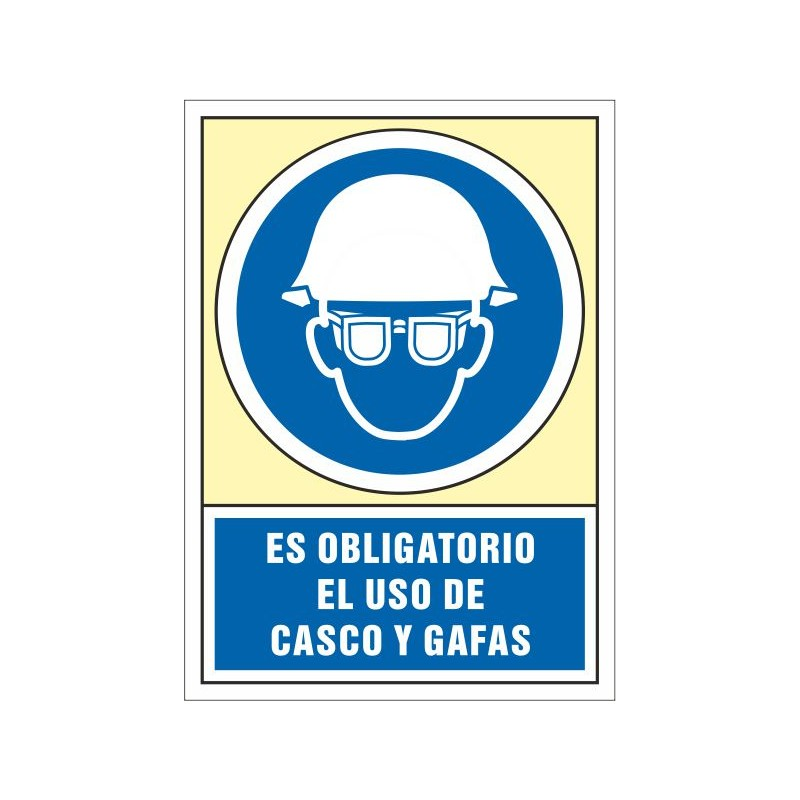 4042S-Señal Es obligatorio el uso de casco y gafas - Referencia 4042S