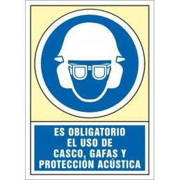 SYSSA,Señal Es obligatorio el uso de casco, gafas y protección acústic