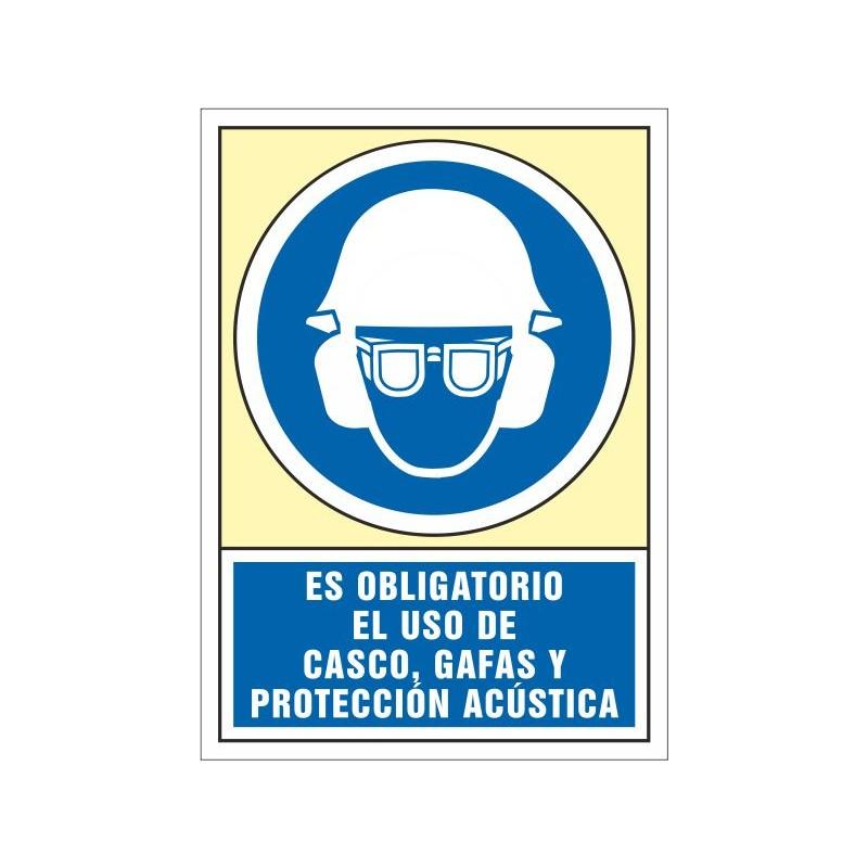 4043S-Señal Es obligatorio el uso de casco, gafas y protección acústica - Referencia  4043S