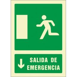 SYSSA,Señal Salida de emergencia flecha abajo