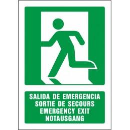 SYSSA,Señal Salida de emergencia (cuatro idiomas)
