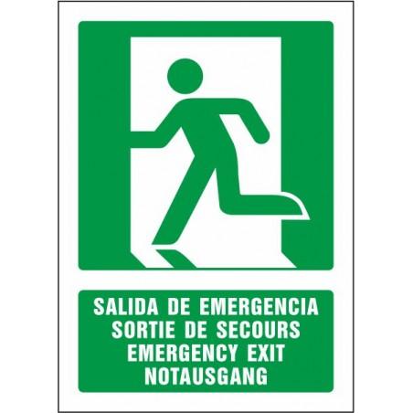 Salida de emergencia (cuatro idiomas)