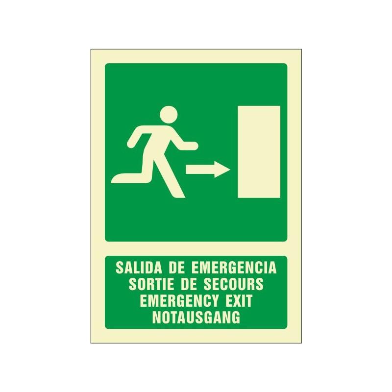 5081F-Salida de emergencia derecha (cuatro idiomas)