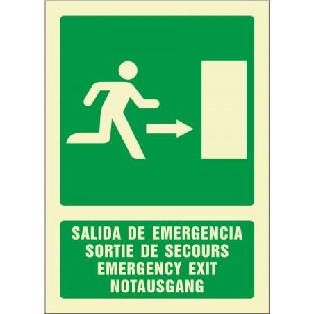 Salida de emergencia derecha (cuatro idiomas)