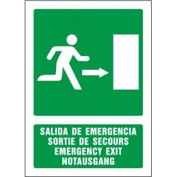 SYSSA,Señal Salida de emergencia derecha (cuatro idiomas)