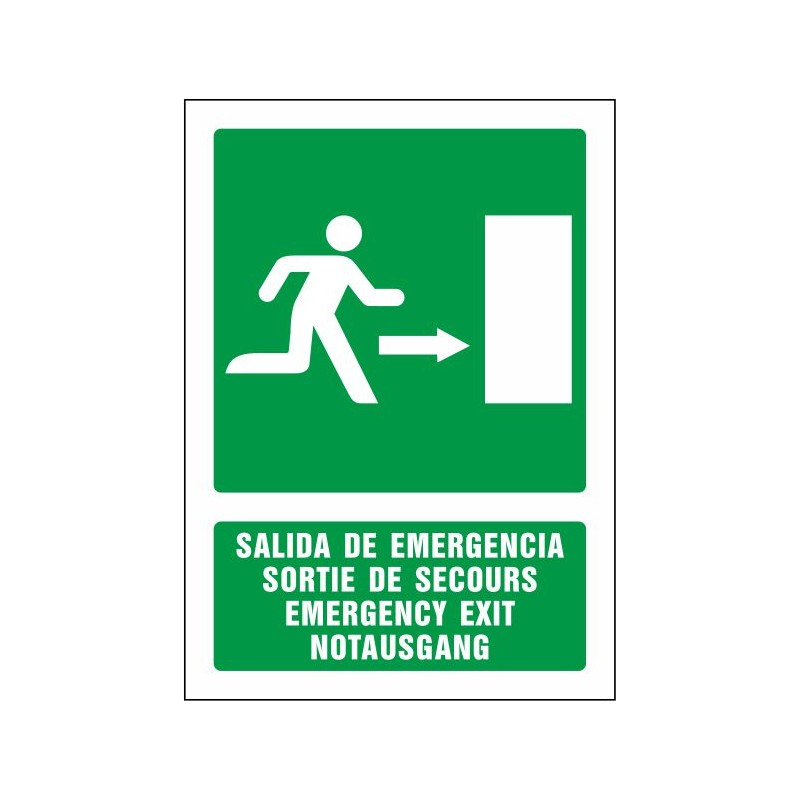 5081S-Salida de emergencia derecha (cuatro idiomas)