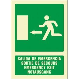 SYSSA,Señal Salida de emergencia izquierda (cuatro idiomas)