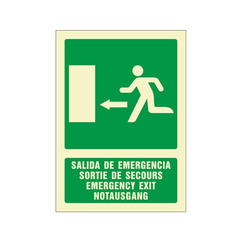 5082F-Salida de emergencia izquierda (cuatro idiomas)