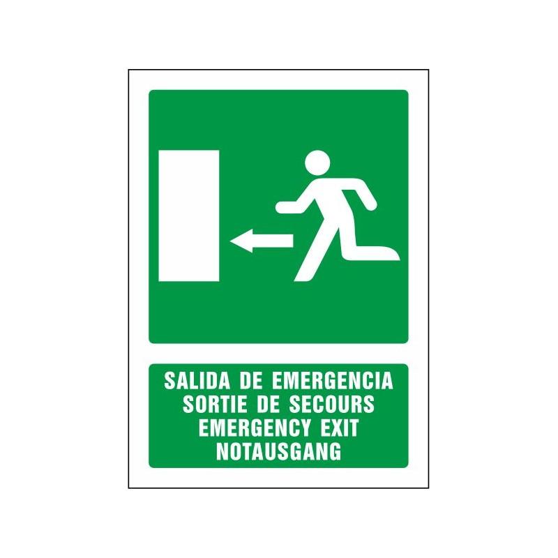 5082S-Salida de emergencia izquierda (cuatro idiomas)