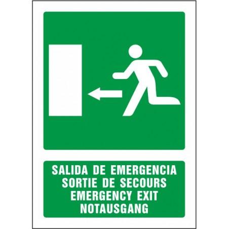 Salida de emergencia izquierda (cuatro idiomas)
