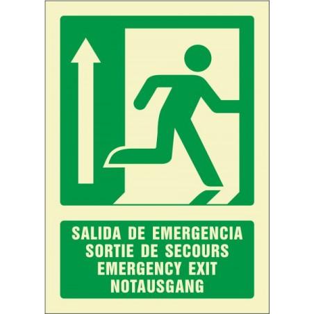 Salida de emergencia arriba (cuatro idiomas)