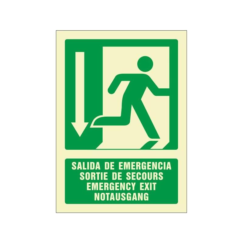 5084F-Salida de emergencia abajo (cuatro idiomas)
