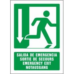 SYSSA,Señal Salida de emergencia abajo (cuatro idiomas)