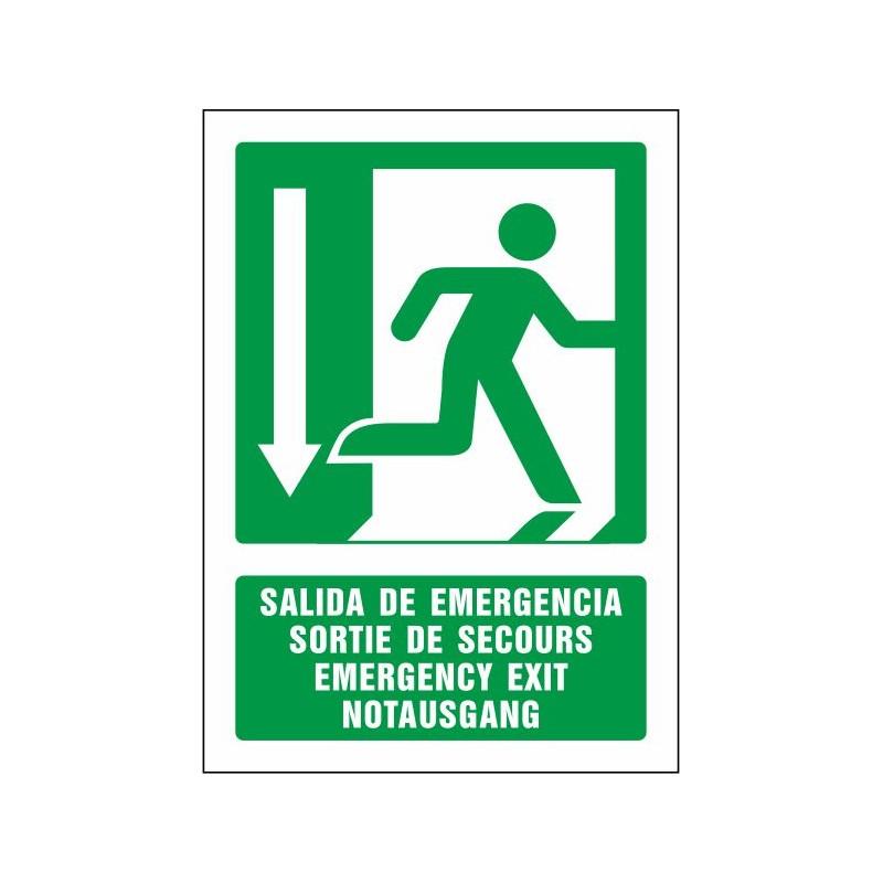 5084S-Señal Salida de emergencia abajo (cuatro idiomas) - Referencia 5084S
