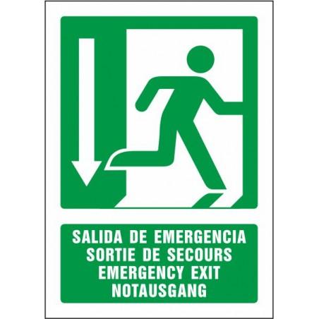 Salida de emergencia abajo (cuatro idiomas)