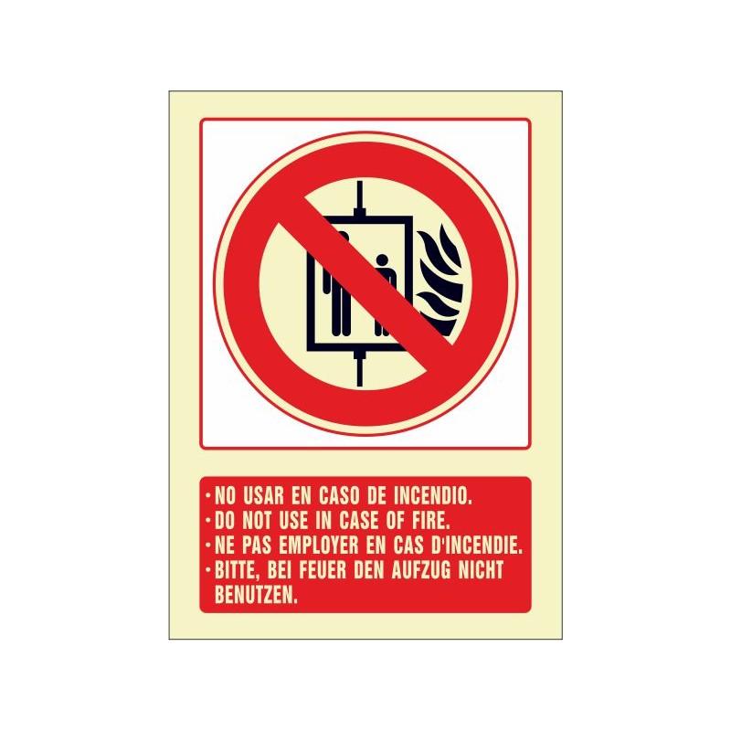 5086F-Señal de No usar en caso de incendio (cuatro idiomas) Referencia 5086F
