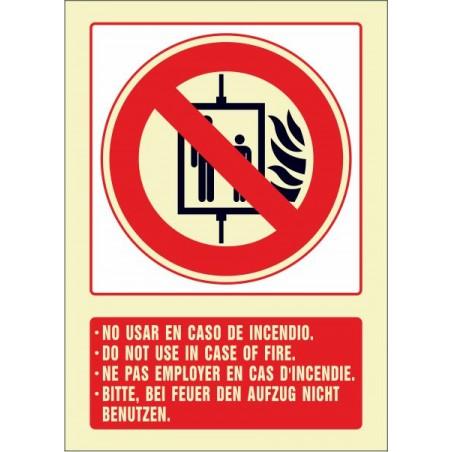 No usar en caso de incendio (cuatro idiomas)