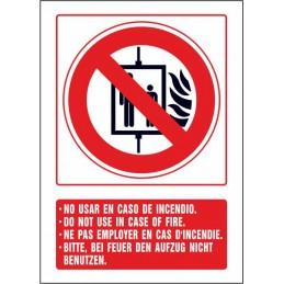 SYSSA,Señal No usar en caso de incendio (cuatro idiomas)