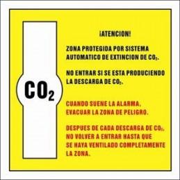 SYSSA,Señal Zona protegida por sistema automático de extincion de CO2