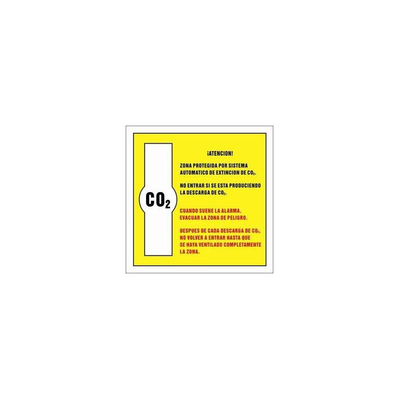 7070S-Placa Zona protegida por sistema automático de extincion de CO2 - Referencia 7070S