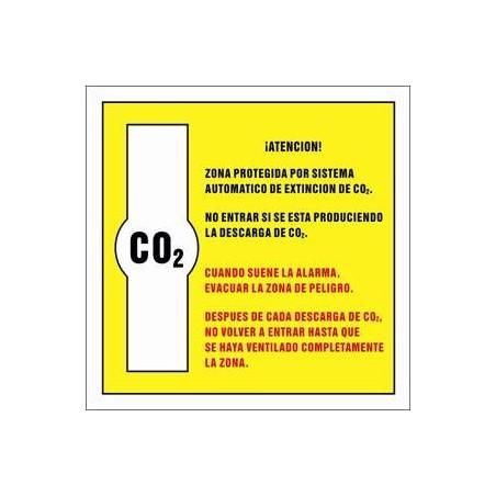 Zona protegida por sistema automático de extincion de CO2