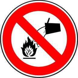 SYSSA, Senyal  En cas d'incendi. No utilitzar aigua com a mitjà d'exti