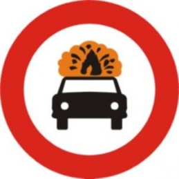 SYSSA - Entrada prohibida a vehículos de transporte mercancías explosivas o inflamables- TIPO Económico - Referencia R109