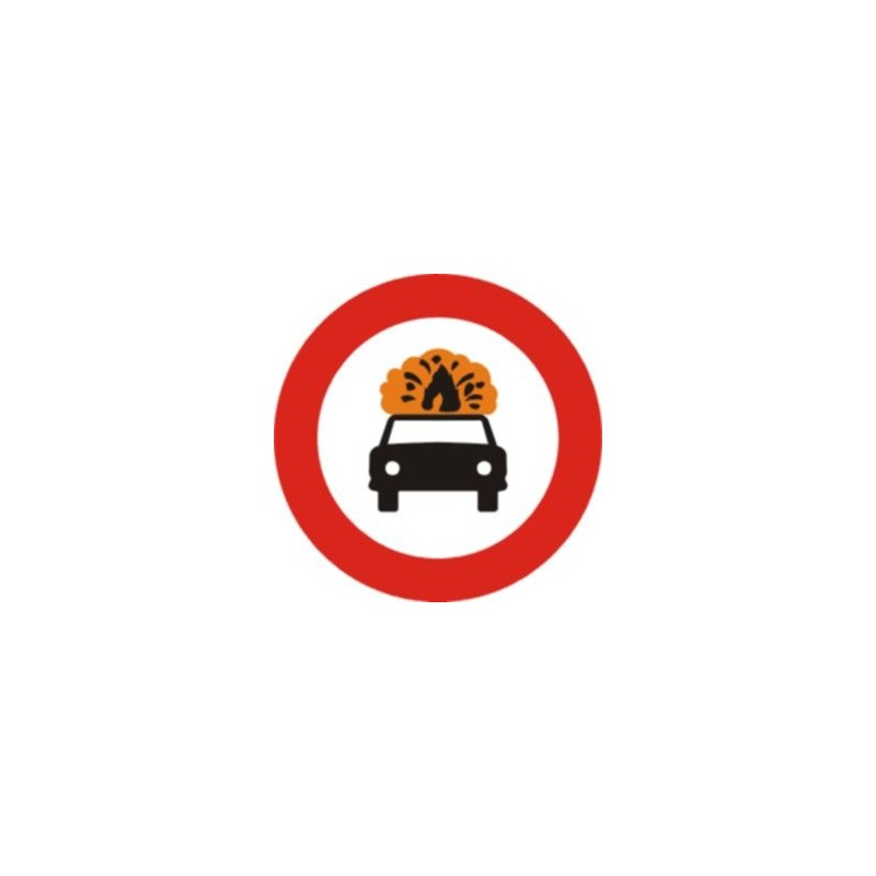 R109-Entrada prohibida a vehículos que transporten mercancías explosivas o inflamables