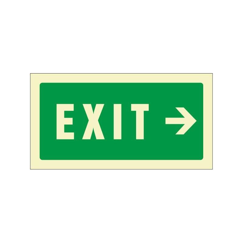 507F-Cartel Exit derecha Fotoluminiscente - Referencia 507F