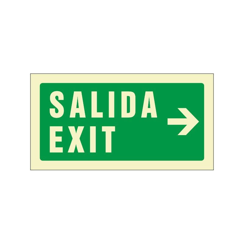 510F-Cartel Salida Exit derecha Fotoluminiscente - Referencia 510F