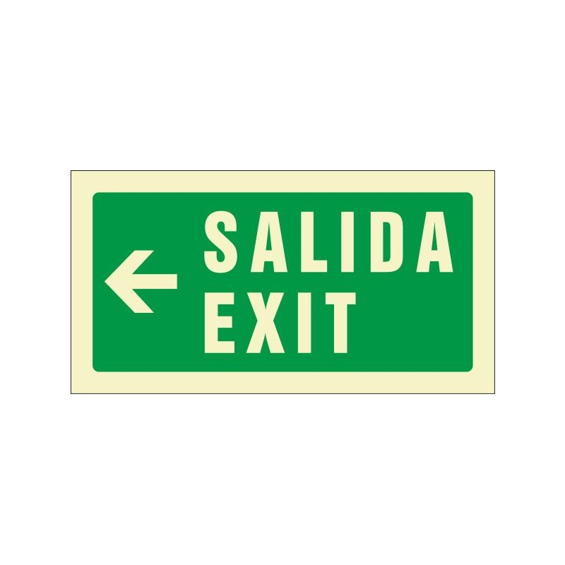 511F-Cartel Salida Exit izquierda Fotoluminiscente - Referencia 511F