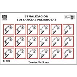 """SYSSA - Tienda Online - Etiquetas adhesivas para envases  """"Corrosivo"""""""