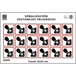 """SYSSA - Tienda Online - Etiquetas adhesivas para envases """"Peligroso para la salud"""""""