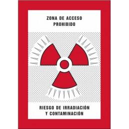 SYSSA,Señal Zona de acceso prohibido Riesgo de irradiación y contamina
