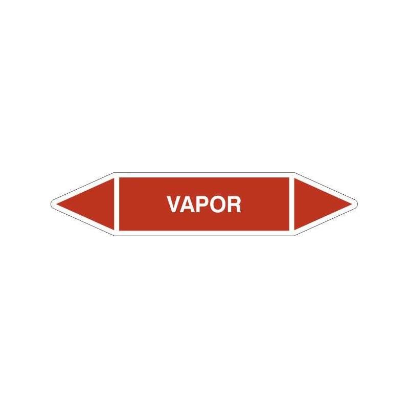 "TUB02CT-Etiquetas tuberías color Rojo con texto ""Vapor"" (de Agua), en color blanco"