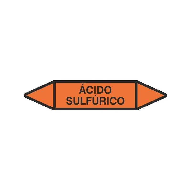 """TUB06CT-Etiquetas tuberías color Naranja con texto """"Ácidos"""""""