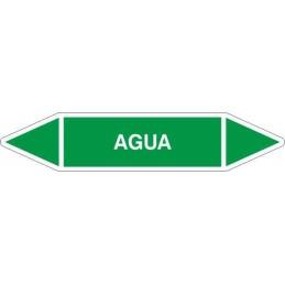 """Tienda SYSSA, Etiquetas tuberías fondo color Verde con texto """"Agua"""", en color blanco"""