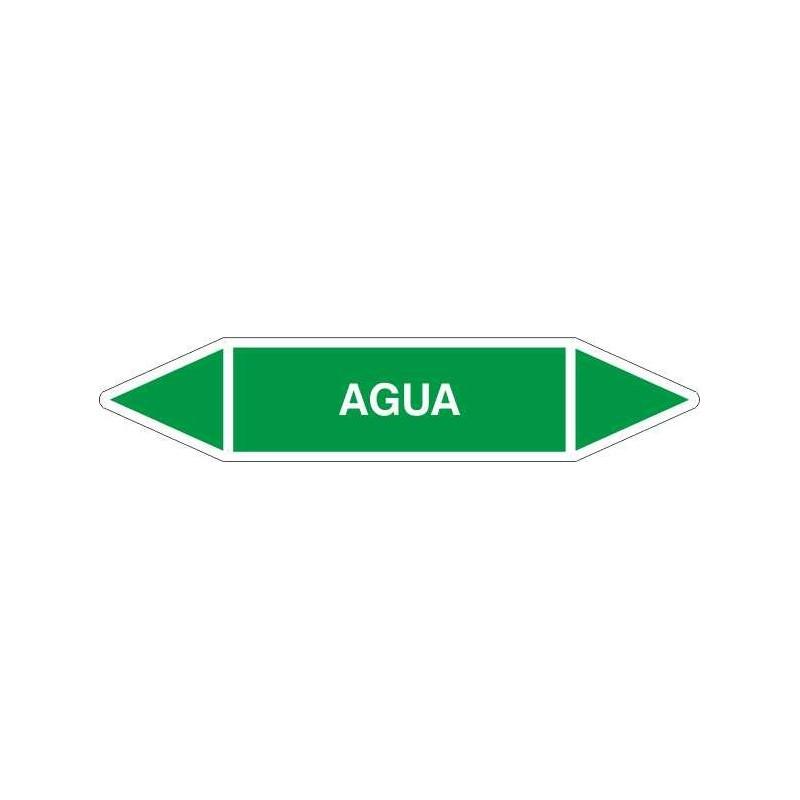 """TUB01CT-Etiquetas tuberías color Verde con texto """"Agua"""""""