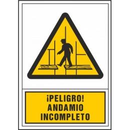 SYSSA,Señal Peligro andamio incompleto