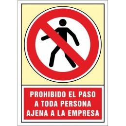 SYSSA,Señal Prohibido el paso a toda persona ajena a la empresa