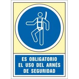 SYSSA,Señal Es obligatorio el uso del arnés de seguridad