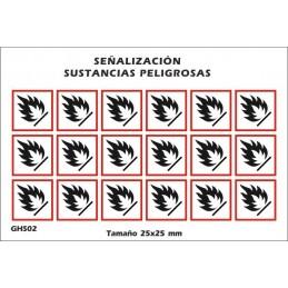 """SYSSA - Tienda Online - Etiquetas adhesivas para envases """"Inflamable"""""""