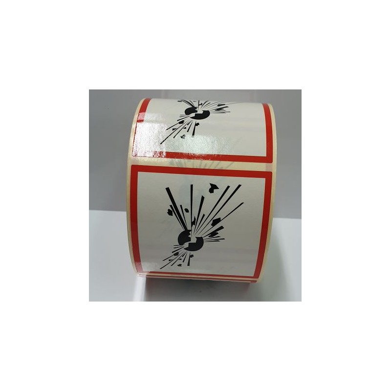 "GHS0150ASR-""Explosiu"" Rotllo d' Etiquetas adhesivas per a envases 50x50 mm."