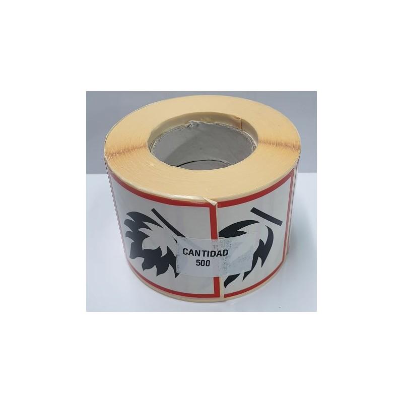 "GHS0250ASR-""Inflamable"" Rotllo d' Etiquetas adhesivas per a envases 50x50 mm."