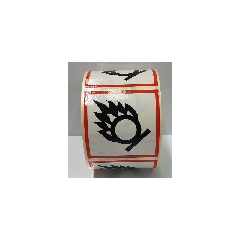 "GHS0350ASR-""Comburent"" Rotllo d'Etiquetas adhesivas per envasos 50x50 mm."