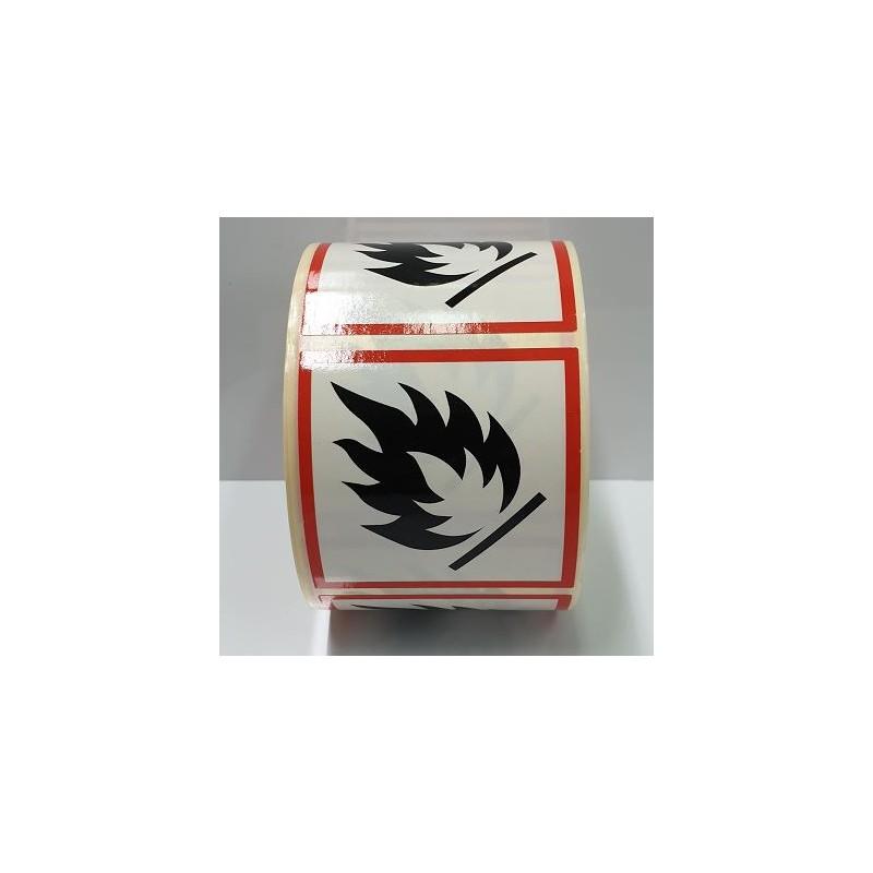 "GHS0225ASR-""Inflamable"" Rotllo d' Etiquetas adhesivas per envasos 25x25 mm."