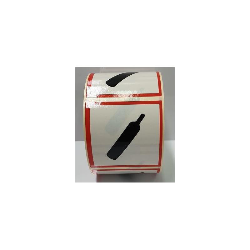 "GHS0425ASR-""Gasos Comprimits"" Rotllo d'Etiquetas adhesivas per envasos 25x25 mm."